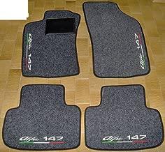 Set Completo di Tappetini in Moquette su Misura Tappeti per Auto Neri con Bordo Rosso Ricami a Filo SPEDIZIONE Gratuita