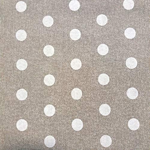 Staab's Beschichtete Baumwolle Dekostoff beige weiß gepunktet (Meterware, Qualität Zum Nähen) (50 x 140 cm)