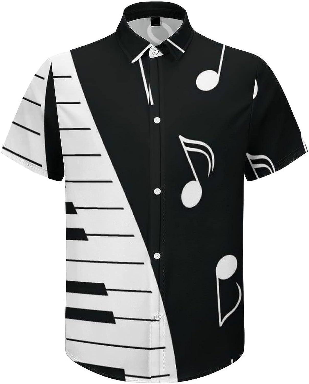 Men's Short Sleeve Button Down Shirt Music Piano Notes Summer Shirts