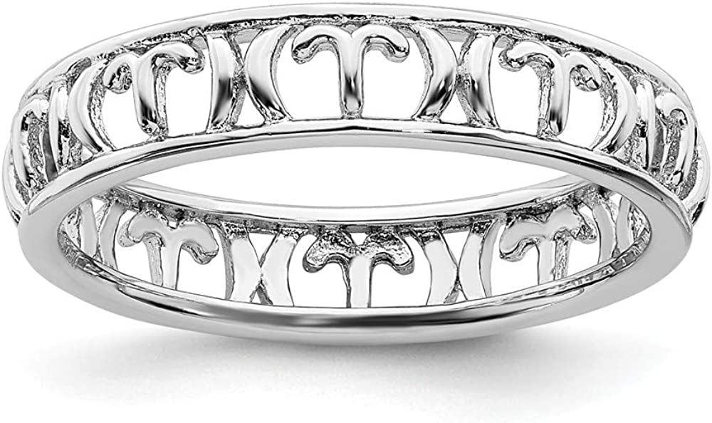 Solid Free shipping anywhere in Popular overseas the nation 925 Sterling Silver Stackable Eternity B Zodiac Ring Aries
