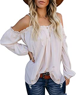 lotus.flower Womens Casual Off Shoulder Solid Long Sleeve Ladies Loose Tops T-Shirt Blouse (XL, White)