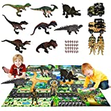 Dinosaur Toys for Kids - 50x39 Inch Large Play Mat & Pull-Back Vehicles, Action Figures, 8 Realistic Dinosaurs Including T-Rex, Velociraptor, Perfect Gifts for Kids Boys & Girls