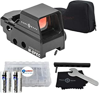 Sightmark Ultra Shot M-Spec FMS Reflex Sight SM26035 with Integrated Sunshade, Black Bundle with 2 Energizer CR123 Batteries and Lightjunction Battery Case