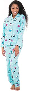 Alexander Del Rossa Women's Warm Flannel Pajama Set, Long Winter Christmas Button Down Cotton Pjs