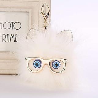 Key Ring for Women Multi-color Cartoon Keychain Popsicle Key Chain Pompom Creative Fur Ball Key Pendant YJXUSHYQ (Color : ...