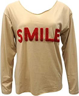 COSYOO Women Fall T Shirt Letter Breathable V Neck Long Sleeve Top Casual Tee Shirt Casual Top
