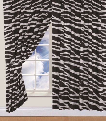 Children's Kids Pair of 66' Width x 72' Drop ZEBRA DESIGN CURTAINS With Matching Tie Backs By Viceroybedding