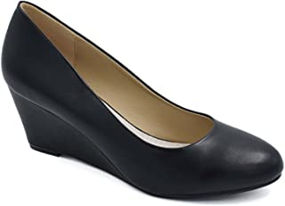 Greatonu Women Shoes Classic Round Toe Wedge Pumps