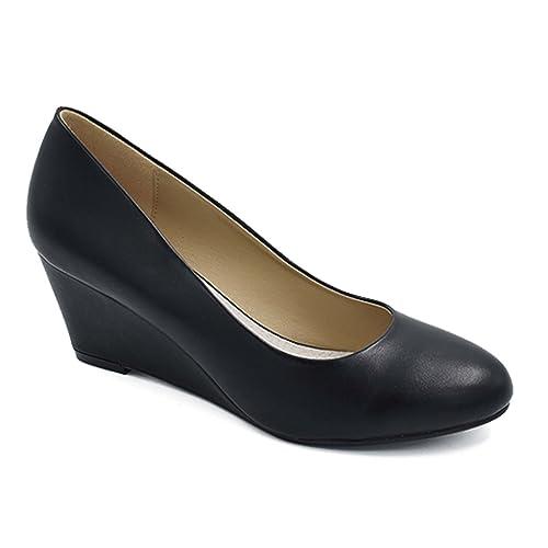 c43a579251f Greatonu Women s Office Wedge Platform Mid Heel Court Shoes
