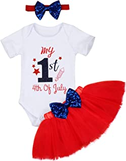 My 1st 4th of July Baby Girl Outfits Short Sleeve Romper + Tutu Skirt with Headband Independence Day Set