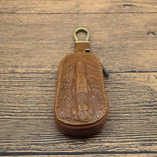 Llaveros de Coche de Cuero Genuino de Ganso Retro Patrón de cocodrilo Hombres Llavero Multifuncional para Mujeres Llaveros domésticos Estuche marrón