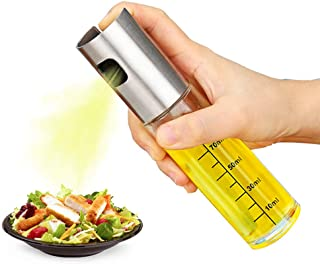 Olive Oil Sprayer, Food-Grade Stainless Steel Glass Oil Spray Bottle Food Oil Mister Kitchen Pump Spritzer for BBQ, Salad, Cooking, Baking, Roasting, Grilling, Air Fryer