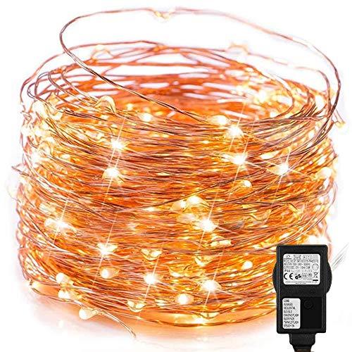 Led Lichterkette Strom 20M 200LED Lichterkette Steckdose IP65 Wasserdicht Kupferdraht mit Merkfunktion Timer für Innen Außen, Niederspannung für Party, Weihnachten, Garten, Warmweiß
