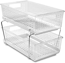 madesmart 29091 Large 2-Tier Organizer Without Dividers- Clear | Bath Collection | Slide-Out Baskets with Handles | Space ...