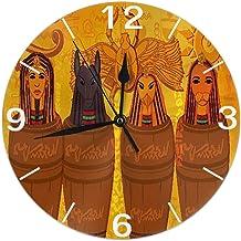 Mailine Reloj de Pared Redondo Cultura egipcia Antigua de África Reloj de Pared Redondo Silencioso No Funciona con Pilas Fácil de Leer Arte Decorativo del Reloj