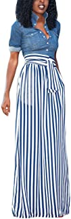 HOTAPEI Women's Full Length Elastic Waisted Maxi Skirt Vertical Striped Long Skirts with Pocket