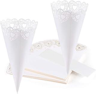 GWHOLE 100 piezas Conos Papel Arroz Boda Blanco, Diseño de Corazón Hueco, Cucuruchos Pétalos ConfetiDecoración Boda con Cinta Adhesiva Doble