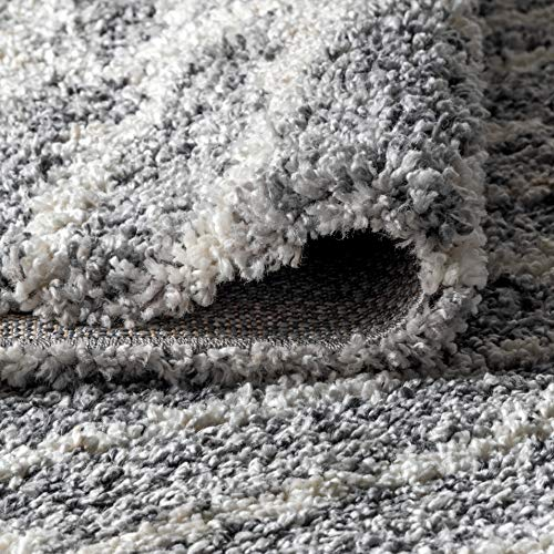 JONATHAN Y Merida Stacked Grid Shag Grey/Ivory 3 ft. x 5 ft. Area Rug, Bohemian, Easy Cleaning, For Bedroom, Kitchen, Living Room, Non Shedding