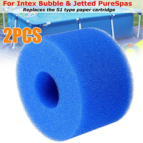 CURLBIUTY Swimming Pool Filter Reusable Washable Filter Foam Cartridge Sponge Replacement Cleaning Equipment Foam Filter Sponge for Intex, 2 Pack