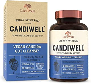 CandiWell - Powerful Candida Support with Clinically Studied Herbs and Botanicals, Digestive Enzymes, and Probiotics | Vegan Candida Gut Cleanse - 30 Day Supply
