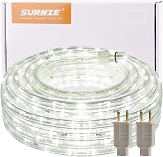 LED Rope Lights Outdoor SURNIE 50ft Waterproof Plug in Daylight White 540 LEDs 110V 2 Wire Lighting Kit UL Listed Power Decoration Flexible Indoor Garden Stairs Balcony Party Christmas