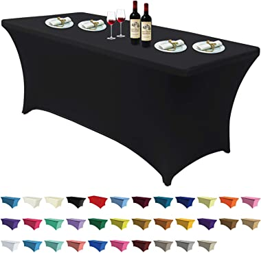 ABCCANOPY Spandex Tablecloths for 6 ft Home Rectangular Table Fitted Stretch Table Cover Polyester Tablecover Lash Bed Cover