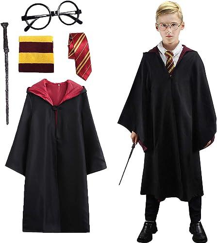 Amycute Costume de Magicien, Robe de Sorcier avec Cravate, Lunettes Noires Rondes, Écharpe et Baguette, Kit d'accesso...