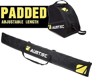 AUMTISC Ski Bag and Boot Bag Combo & Padded for 1 Pair of Ski Boots Adjustable Length Ski Bag Up to 200cm