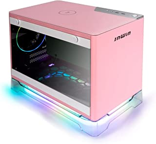 InWin A1 Plus Pink Mini-ITX Tower with Integrated ARGB Lighting - 650W Gold Power Supply - Qi Wireless Phone Charger - Computer Chassis Case