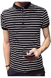 Sayah Mens Ombre Plus Size Short-Sleeve Striped Lapel Polo Shirt
