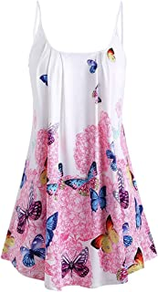 Women Sexy Camisole, OULSEN Fashion Butterfly Printing Sleeveless Blouse Summer Casual Loose Round Neck Sling Shirt Plus Size Long Tunics Tops Tank Top Vest