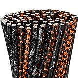 Pajitas de papel de Halloween de 200 piezas Paja de beber con lunares a rayas de color negro y...