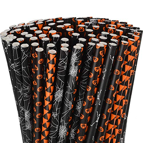 200 Pezzi Halloween Cannucce di Carta Dot Print a Strisce Nere e Arancioni Cannucce di Carta con Stampa di Scheletro di Pipistrello Zucca per Forniture per Feste di Halloween (Colore Set 2)