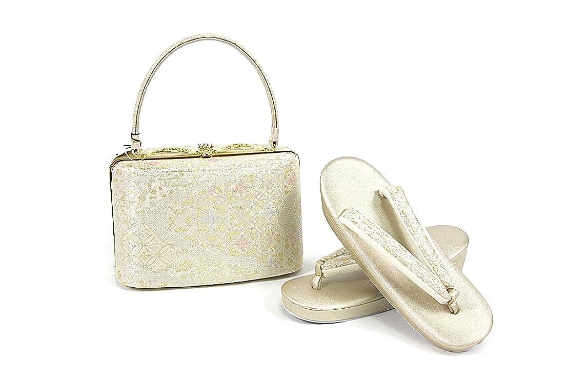 ベース無効にするオーク紗織謹製 草履バッグセット 金 金×銀×ピンク 23.0cm レディース