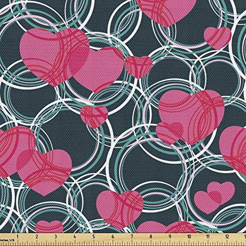 Ambesonne Hearts Fabric by The Yard, Funky Intertwined Hearts Circles Chain Illustration, Decorative Fabric for Upholstery and Home Accents, 2 Yards, Pink Teal