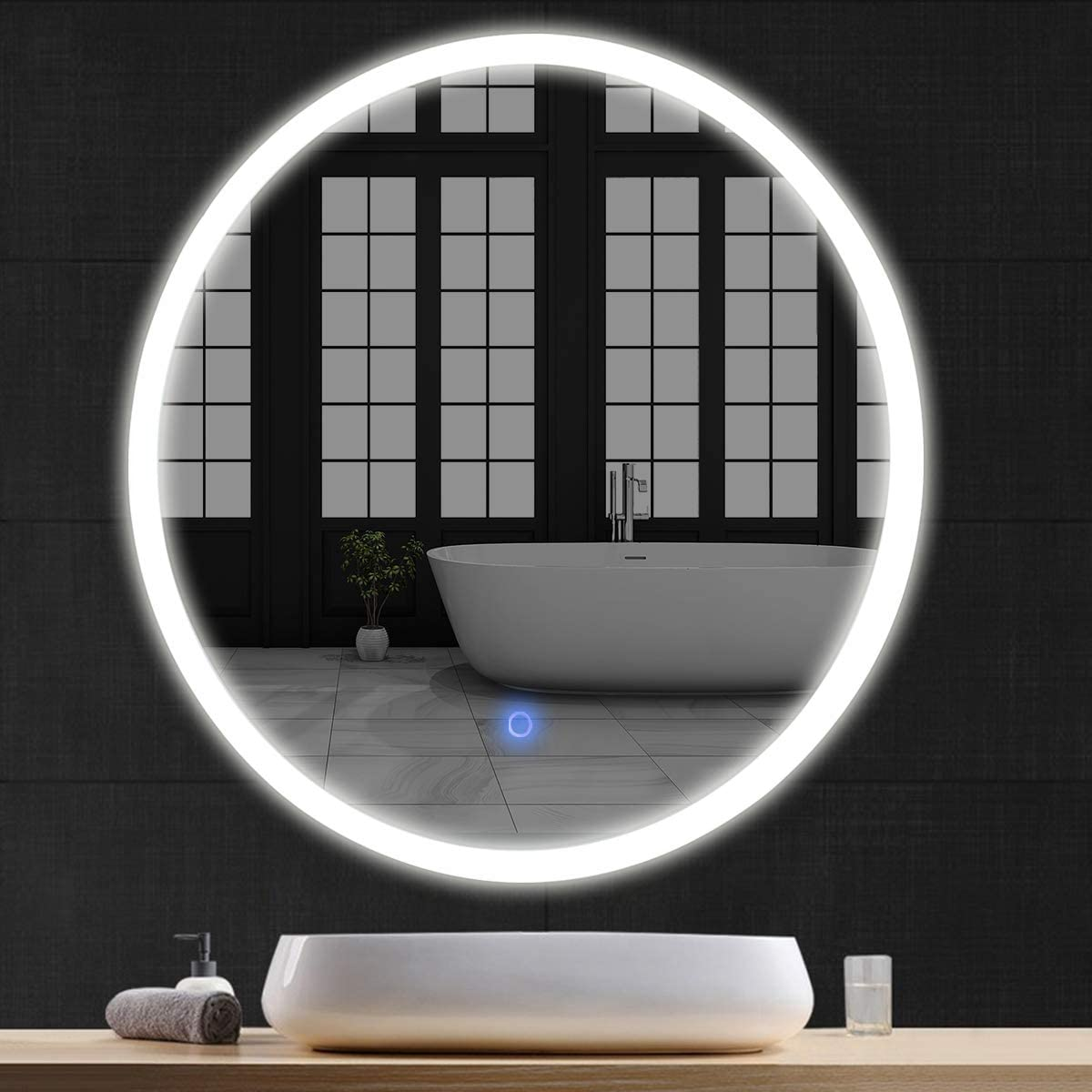 "Tangkula 24"" LED Mirror, Round Wall Mount Lighted Mirror, Makeup Vanity Mirror with Touch Button"