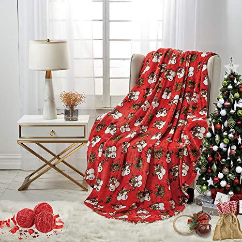 softan Flannel Christmas Blanket Throw Lightweight Super Soft Ultra Luxurious Plush Fleece Snow Man, 60' X 80'