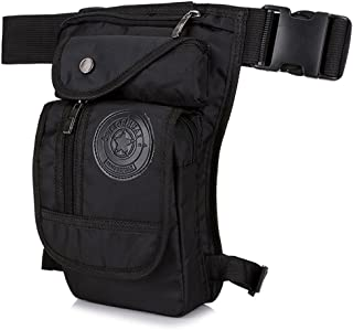 LJNGG Mens Waist Bag Fanny Pack Drop Leg Bag Thigh Bag Pouch Tactical Motorcycle Riding Waterproof Outdoor Sport (Black)