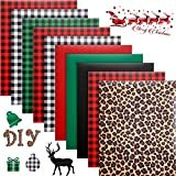 10 Sheets Christmas Buffalo Plaid Iron-on Vinyl Leopard Pattern Heat Transfer Vinyl 12 x 10 Inch Green White Black Red Plaid HTV Print for T-Shirts DIY Clothing Hats Bags, 7 Patterns