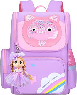 3D Cute Cat Schoolbag Lightweight Cartoon Backpack for Girls Durable Functional Bookbag with A Doll for Primary Student
