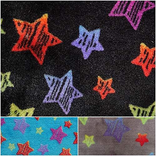 DIE NÄHZWERGE Superflausch Sterne/Stars schraffiert, in 3 Farben - Meterware ab 50cm | Wellness-Fleece Softplüsch Flanell Microfleece (schwarz)