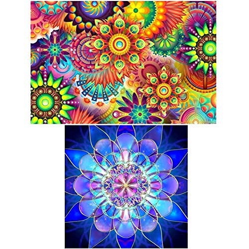 2 paquetes de 5D DIY Diamond Painting por kits de números, para Kaleidoscope Mandala (17.7X12inch / 45X30CM) Flor geométrica azul (12X12inch/30X30CM)