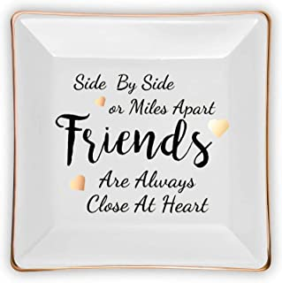Dish Jewelry Plate for Friend Birthday Gifts,Side By Side or Miles Apart Friends Are Always Close at Heart,Ceramic Jewelry...