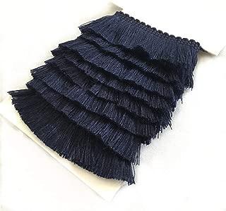 YEQIN 25mm Wide Cotton Fringe Tassel Trim 5 Yards (navy)