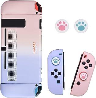 Teyomi Fodral till Nintendo Switch med 2 st tumgrepp, ergonomiskt TPU-grepp och ABS-skyddskåpa med dockbar, stötdämpning o...