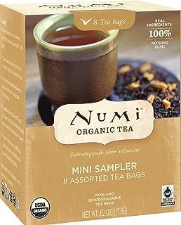 Numi Organic Tea Mini Sampler, 8 Count Box of Tea Bags - Black, Green, White & Herbal Teas (Packaging May Vary)