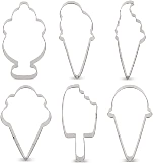 LILIAO Summer Ice Cream Cookie Cutter Set Sundae/Popsicle Biscuit and Fondant Cutters - 6 Piece - 3.6, 4.5, 4.2, 4, 4.3 and 3.7 inches - Stainless Steel