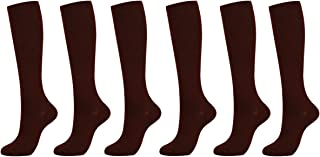 6 Pairs of Unisex Compression Socks (15-20mmHg) for Running, Nurses, Shin Splints, Travel, Flight, Pregnancy & Maternity