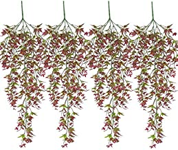 XONOR Artificial Hanging Plants Sweet Potato Leaves Fake Rattan Vine for Home Garden Wall Decoration Decor (Red, Pack of 4)
