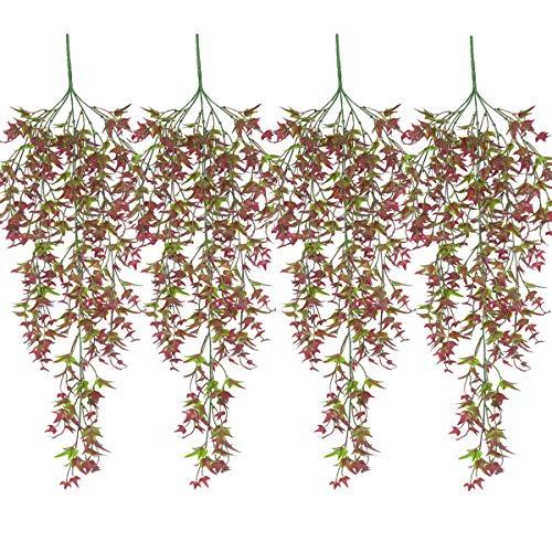 XONOR Kunstmatige hangplanten, zoete aardappel, bladeren, namaakrotan, wijnstok, wanddecoratie, decoratie rood